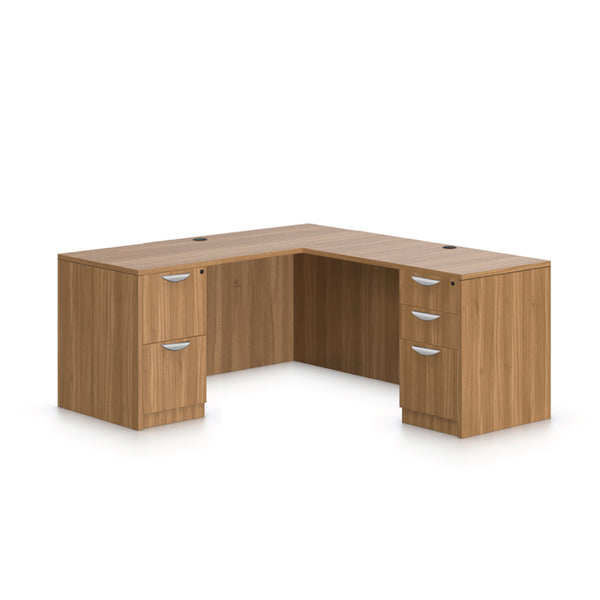 L66B - 5.5' x 5' L-Shape Workstation(Credenza Shell with B/B/F, F/F Pedestal) - Kainosbuy.com