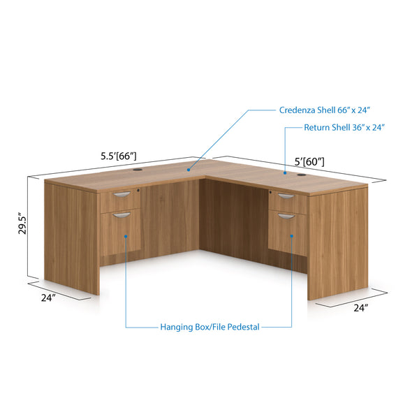 L66B - 5.5' x 5' L-Shape Workstation(Credenza Shell with Two Hanging B/F Pedestal) - Kainosbuy.com