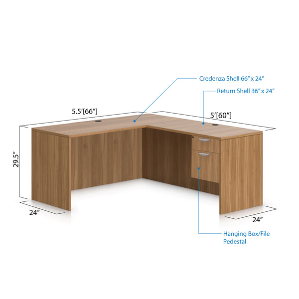 L66B - 5.5' x 5' L-Shape Workstation(Credenza Shell with Hanging B/F Pedestal) - Kainosbuy.com