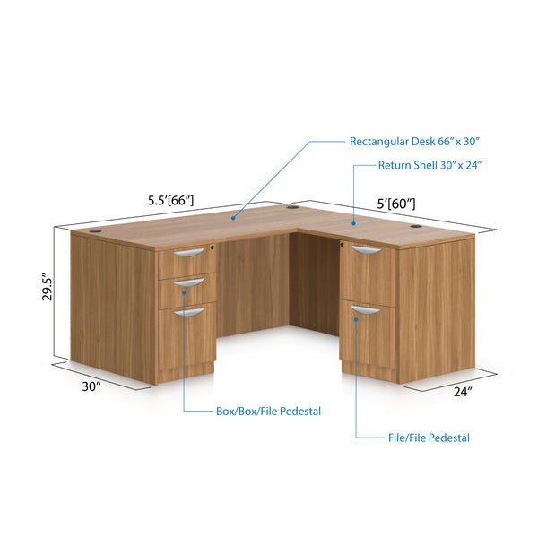 L66B - 5.5' x 5' L-Shape Workstation(Rectangular Desk with B/B/F, F/F Pedestal) - Kainosbuy.com