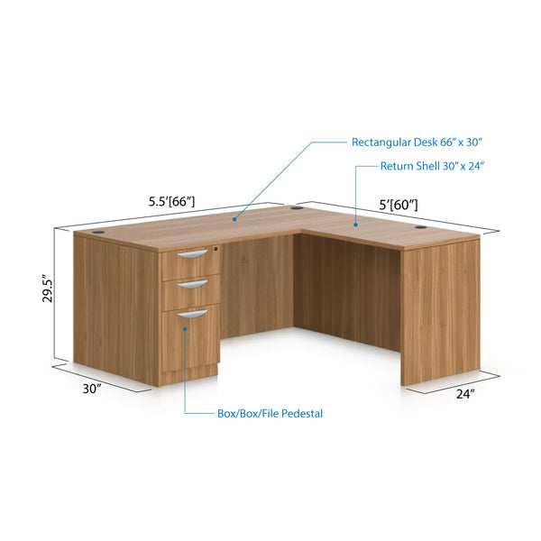 L66B - 5.5' x 5' L-Shape Workstation(Rectangular Desk with B/B/F Pedestal) - Kainosbuy.com