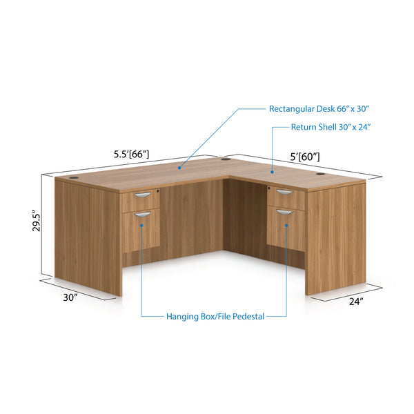 L66B - 5.5' x 5' L-Shape Workstation(Rectangular Desk with Two Hanging B/F Pedestal) - Kainosbuy.com