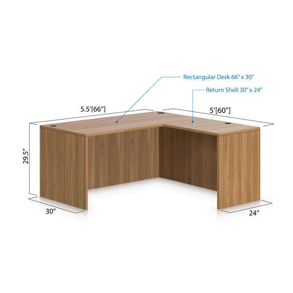 L66B - 5.5' x 5' L-Shape Workstation(Rectangular Desk) - Kainosbuy.com