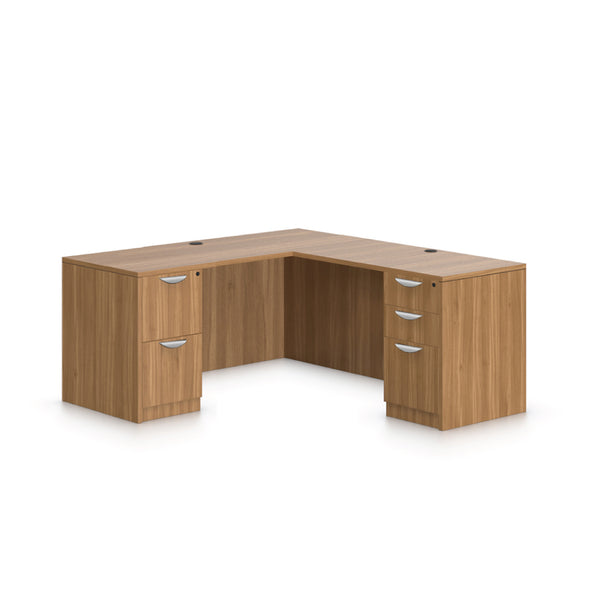 L66C - 5.5' x 5.5' L-Shape Workstation(Credenza Shell with B/B/F, FF Pedestal) - Kainosbuy.com