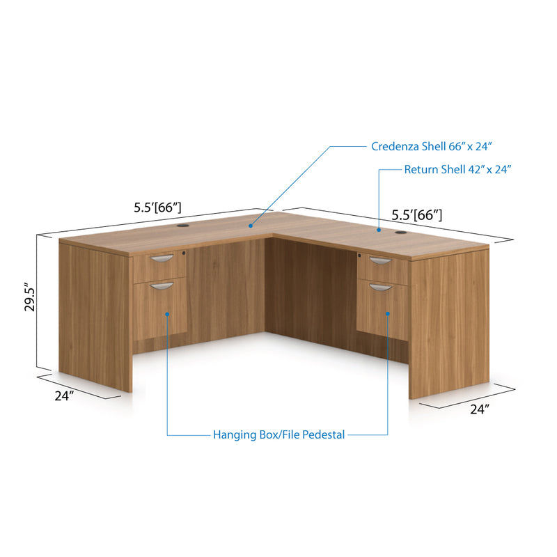 L66C - 5.5' x 5.5' L-Shape Workstation(Credenza Shell with Two Hanging B/F Pedestal) - Kainosbuy.com