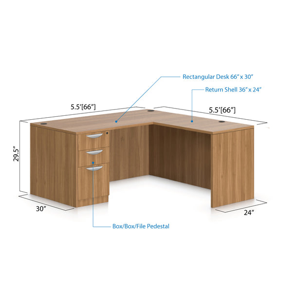 L66C - 5.5' x 5.5' L-Shape Workstation(Rectangular Desk with B/B/F Pedestal) - Kainosbuy.com