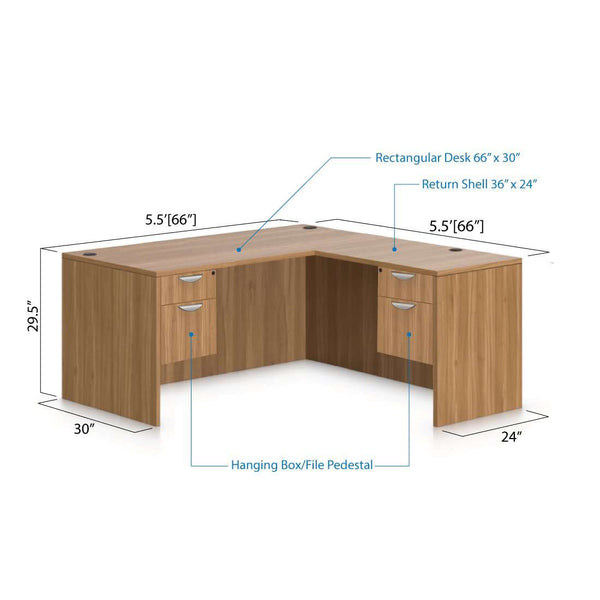 L66C - 5.5' x 5.5' L-Shape Workstation(Rectangular Desk with Two Hanging B/F Pedestal) - Kainosbuy.com