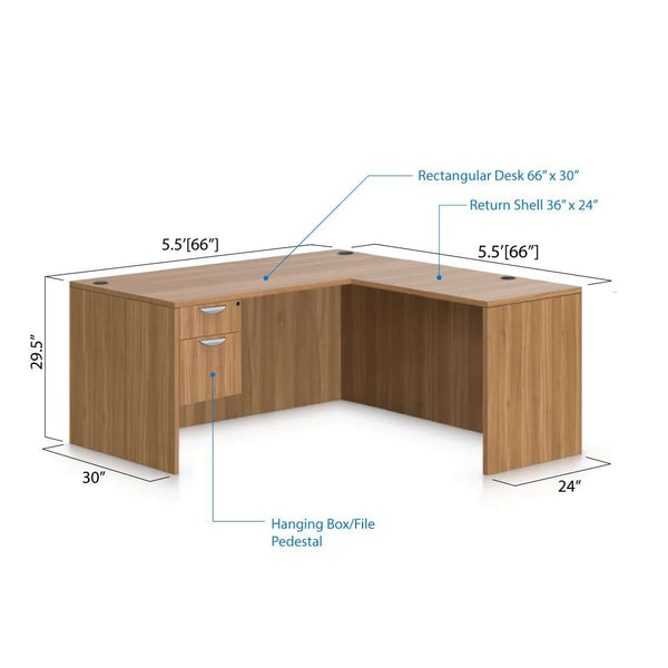 L66C - 5.5' x 5.5' L-Shape Workstation(Rectangular Desk with Hanging B/F Pedestal) - Kainosbuy.com
