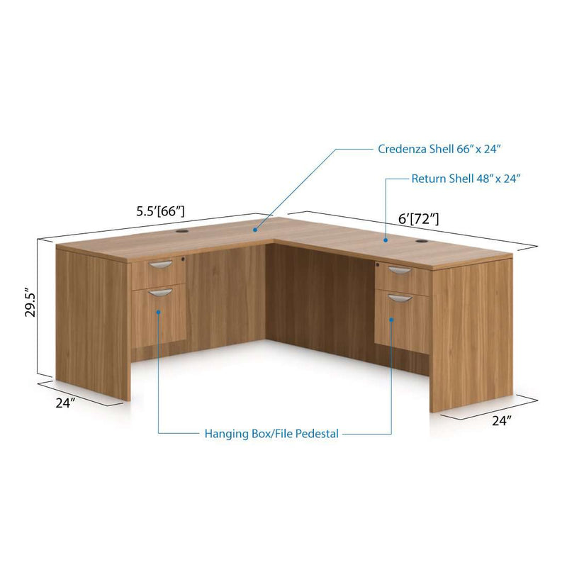 L66D - 5.5' x 6' L-Shape Workstation(Credenza Shell with Two Hanging B/F Pedestal) - Kainosbuy.com