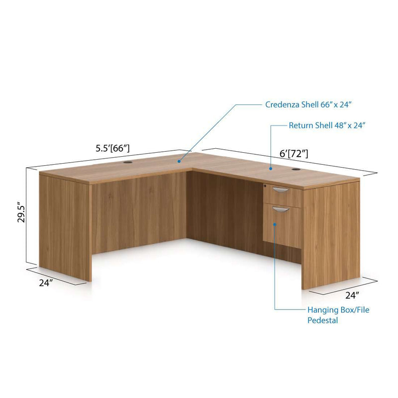 L66D - 5.5' x 6' L-Shape Workstation(Credenza Shell with Hanging B/F Pedestal) - Kainosbuy.com