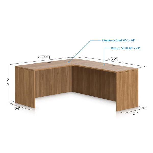 L66D - 5.5' x 6' L-Shape Workstation(Credenza Shell) - Kainosbuy.com