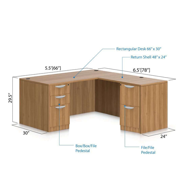 L66D - 5.5' x 6' L-Shape Workstation(Rectangular Desk with B/B/F, F/F Pedestal) - Kainosbuy.com