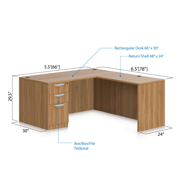 L66D - 5.5' x 6' L-Shape Workstation(Rectangular Desk with B/B/F Pedestal) - Kainosbuy.com