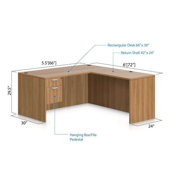 L66D - 5.5' x 6' L-Shape Workstation(Rectangular Desk with Hanging B/F Pedestal) - Kainosbuy.com