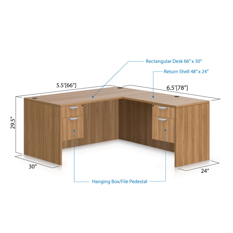 L66E - 5.5' x 6.5' L-Shape Workstation(Rectangular Desk with Two Hanging B/F Pedestal) - Kainosbuy.com