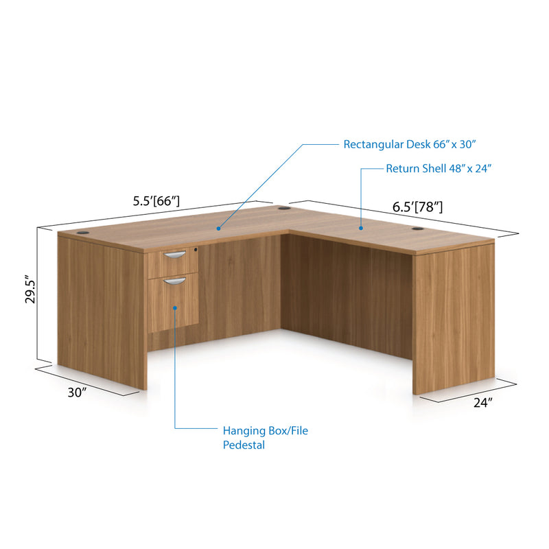 L66E - 5.5' x 6.5' L-Shape Workstation(Rectangular Desk with Hanging B/F Pedestal) - Kainosbuy.com