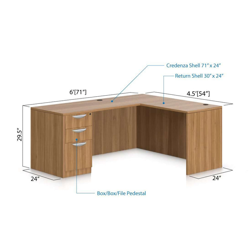 L71A - 6' x 4.5' L-Shape Workstation(Credenza Shell with B/B/F Pedestal) - Kainosbuy.com