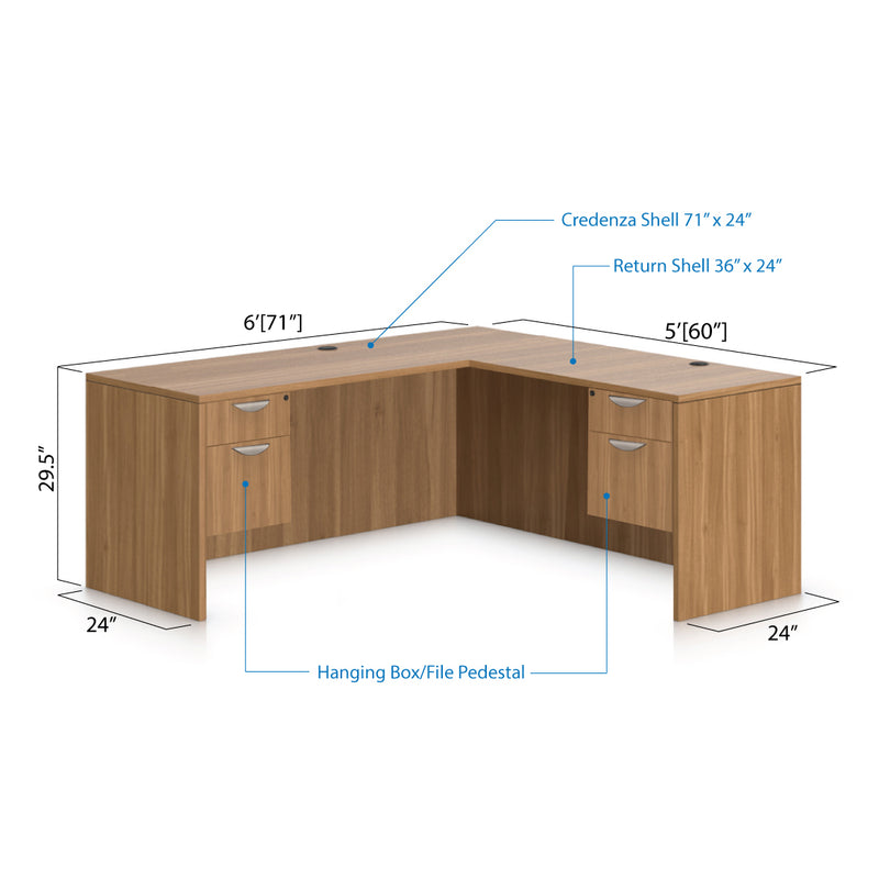 L71B - 6' x 5' L-Shape Workstation(Credenza Shell with Two Hanging B/F Pedestal) - Kainosbuy.com