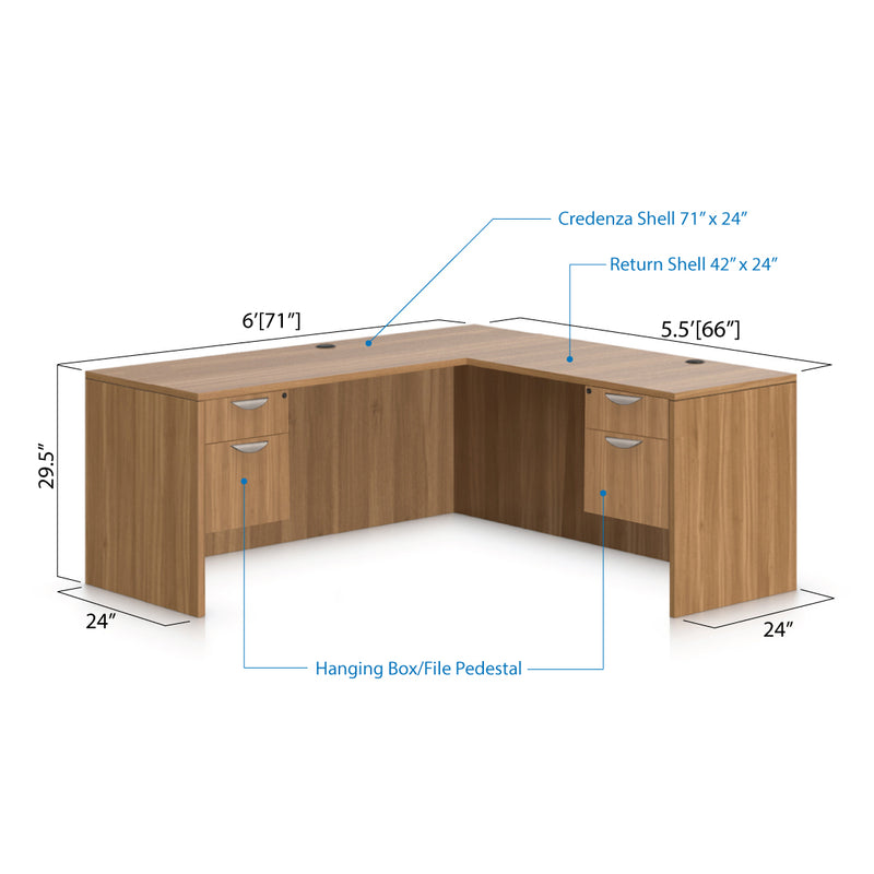 L71C - 6' x 5.5' L-Shape Workstation(Credenza Shell with Two Hanging B/F Pedestal) - Kainosbuy.com
