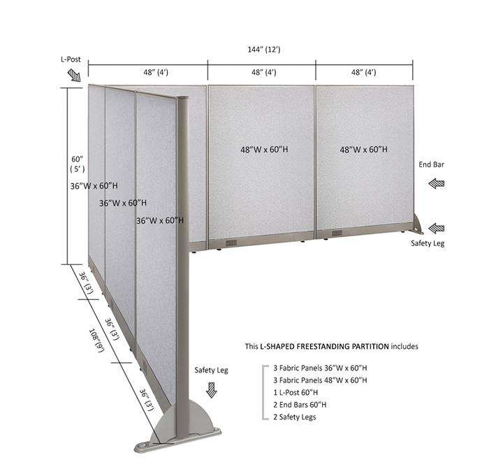GOF Office L-Shaped Partition 108d x 144w x 60H - Kainosbuy.com