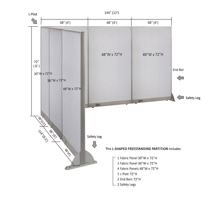GOF Office L-Shaped Partition 114d x 144w x 72H - Kainosbuy.com