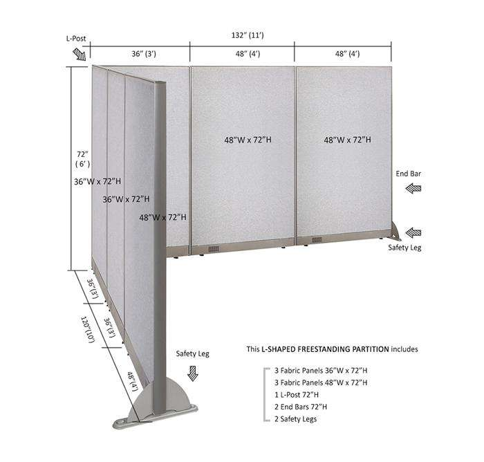 GOF Office L-Shaped Partition 120d x 132w x 72H - Kainosbuy.com