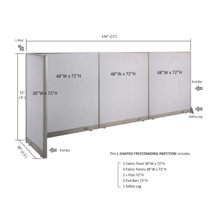 GOF Office L-Shaped Partition 30D x 144w x 72H - Kainosbuy.com