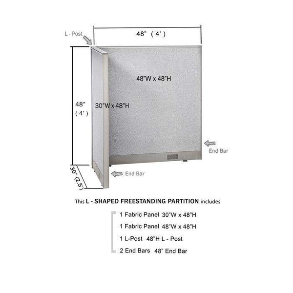 GOF Office L-Shaped Partition 30D x 48w x 48H - Kainosbuy.com