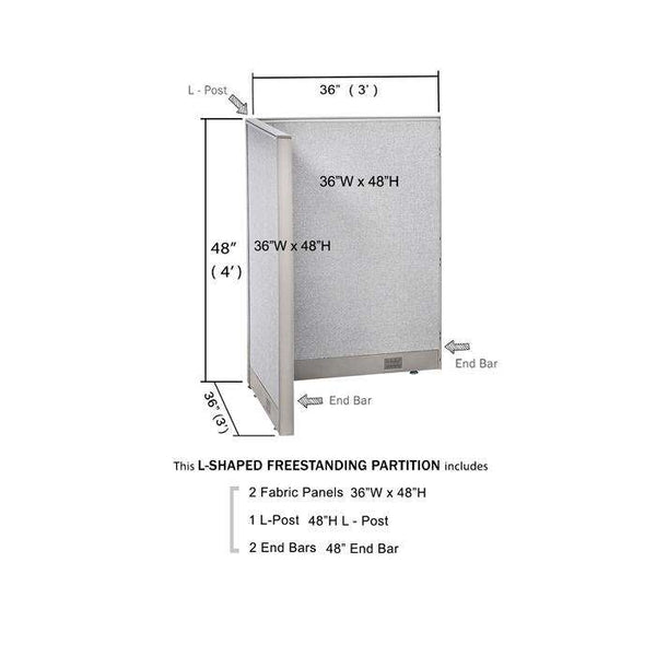 GOF Office L-Shaped Partition 36d x 36w x 48H - Kainosbuy.com