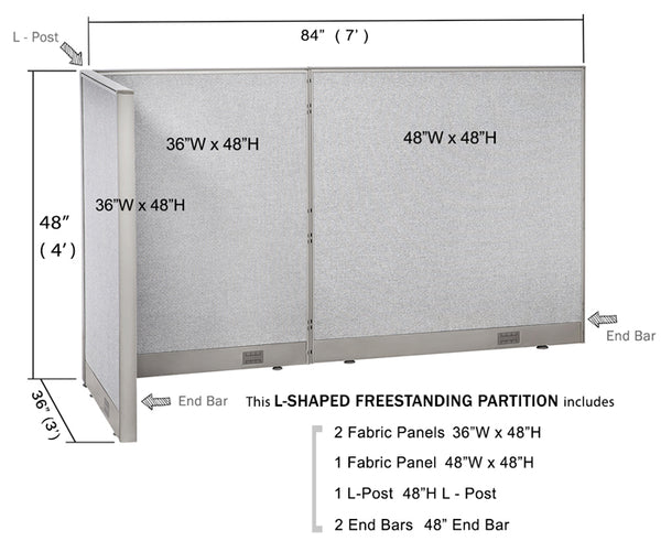 GOF Office L-Shaped Partition 36d x 84w x 48H - Kainosbuy.com