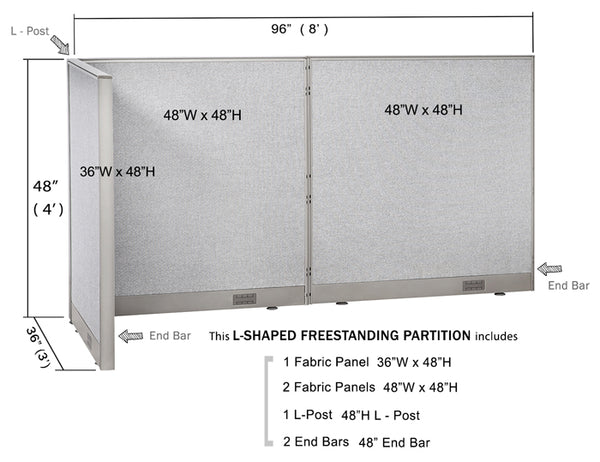 GOF Office L-Shaped Partition 36d x 96w x 48H - Kainosbuy.com