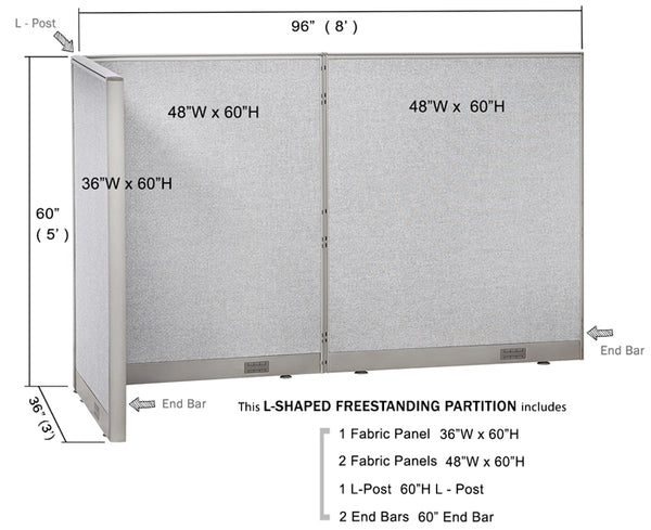 [SPECIAL] GOF L-Shaped Office Partition 36D x 96W x 60H - Kainosbuy.com