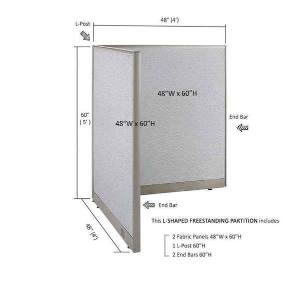 GOF Office L-Shaped Partition 48d x 48w x 60H - Kainosbuy.com