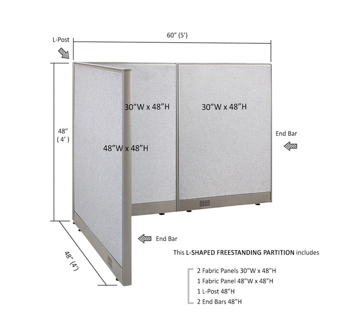 GOF Office L-Shaped Partition 48d x 60w x 48H - Kainosbuy.com