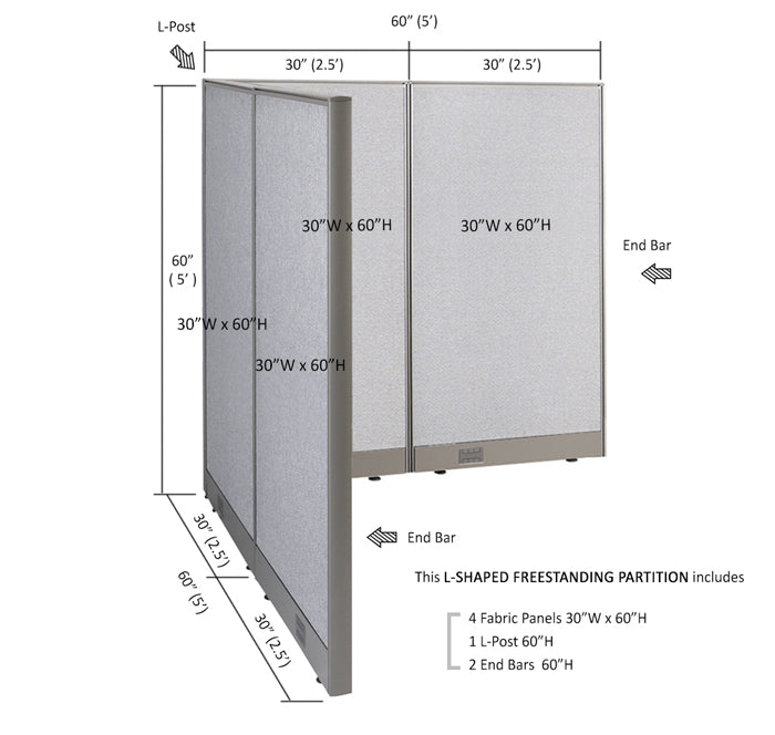 GOF Office L-Shaped Partition 60d x 60w x 60H - Kainosbuy.com
