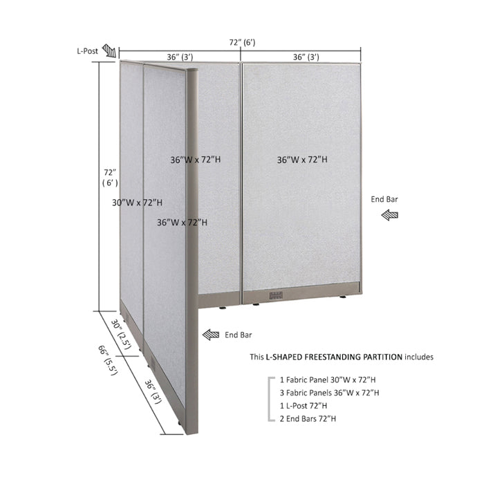 GOF Office L-Shaped Partition 66d x 72w x 72H - Kainosbuy.com