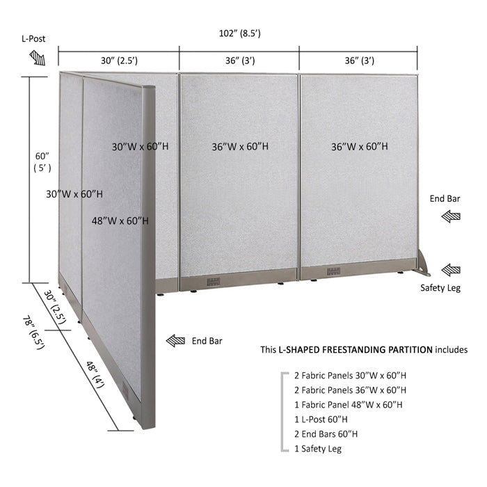 GOF Office L-Shaped Partition 78d x 102w x 60H - Kainosbuy.com