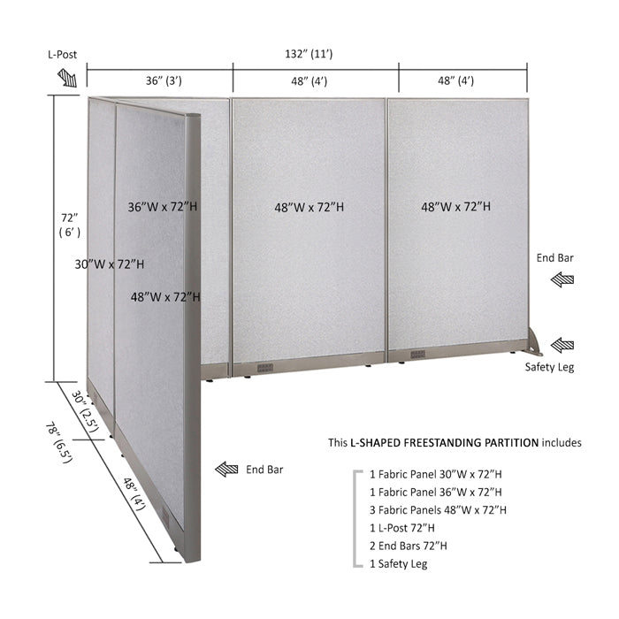 "GOF Office L-Shaped Partition 72""H - Kainosbuy.com"