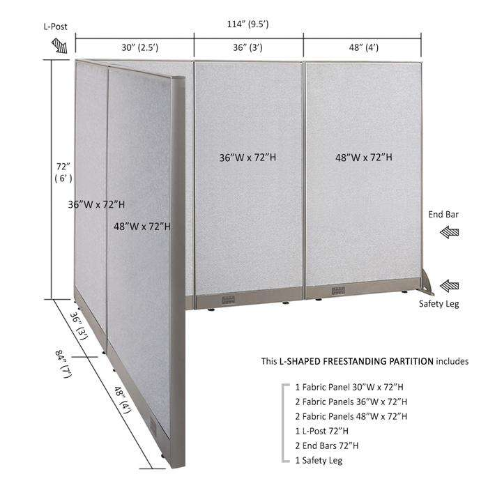 GOF Office L-Shaped Partition 84d x 114w x 72H - Kainosbuy.com