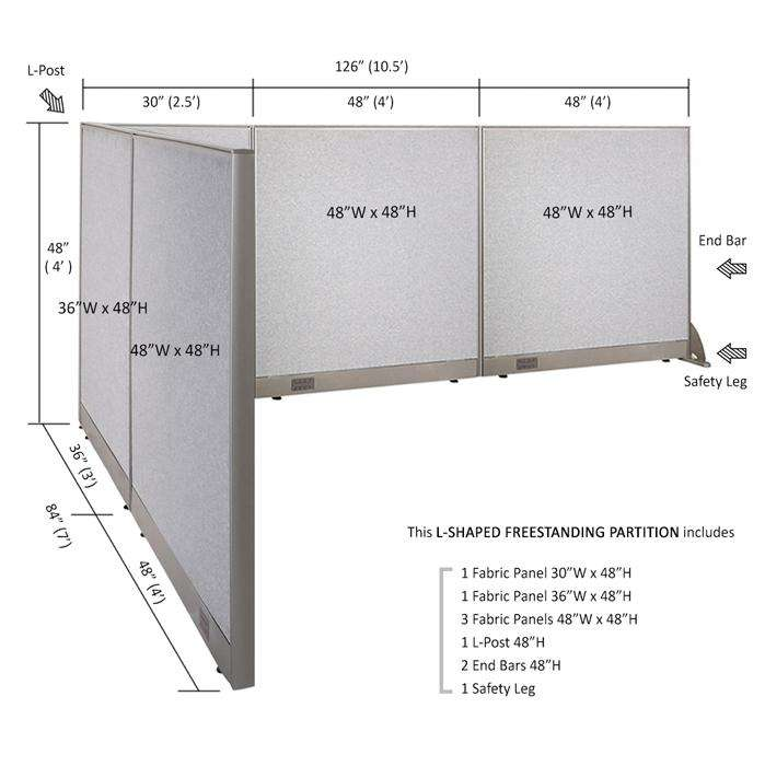 GOF Office L-Shaped Partition 84d x 126w x 48H - Kainosbuy.com