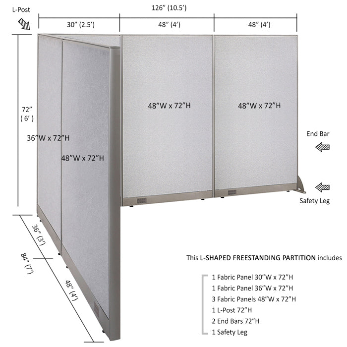 GOF Office L-Shaped Partition 84d x 126w x 72H - Kainosbuy.com