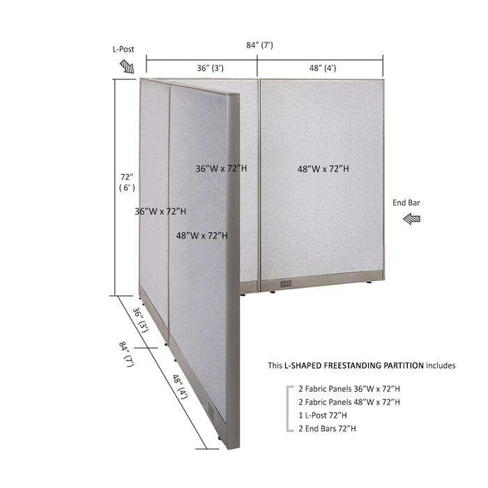 GOF Office L-Shaped Partition 84d x 84w x 72H - Kainosbuy.com