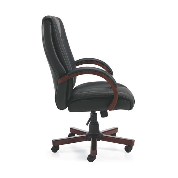 G11300B Luxhide Executive Chair with Wood Arms and Base - Kainosbuy.com