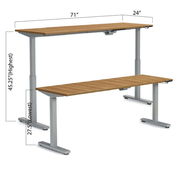 "Height Adjustable Desk 71"" x 24"" - Kainosbuy.com"