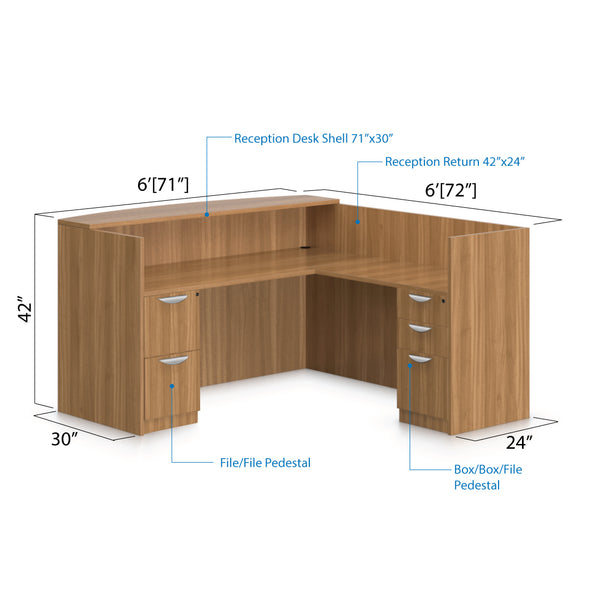 6' x 6' Reception Desk with B/B/F & F/F Pedestal - Kainosbuy.com