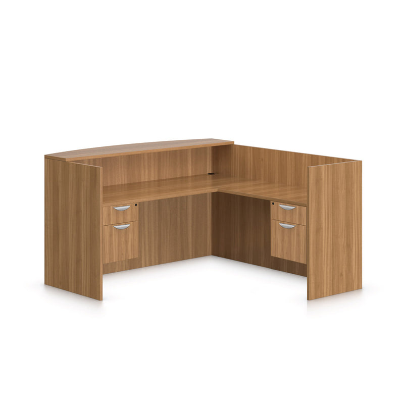 6' x 6' Reception Desk with Two Hanging B/F Pedestal - Kainosbuy.com