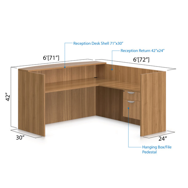 6' x 6' Reception Desk with Hanging B/F Pedestal - Kainosbuy.com