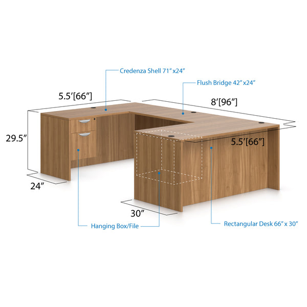 U66A - 5.5' x 8' U-Shape Workstation(Rectangular Desk with Hanging B/F Pedestal) - Kainosbuy.com