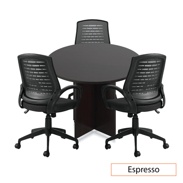 "42"" Round Table/Cross Base with 3 Chairs (G10902B) - Kainosbuy.com"