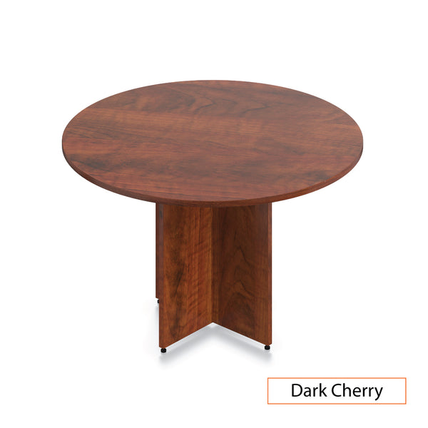 "48"" Dark Cherry, Round Table/Cross Base - Kainosbuy.com"